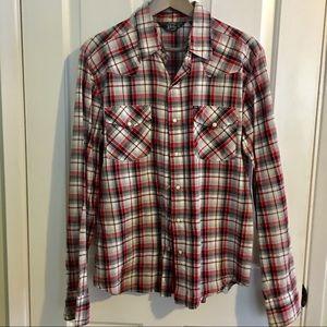 Urban Outfitters Plaid Pearl Button Down Shirt